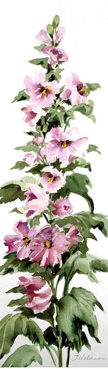 """Hollyhocks"" - by Joy Waldman"