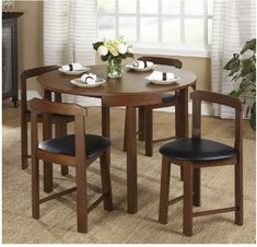 Simple Living Harrisburg Dining Set 5 Piece Space Saving Round Table Walnut Home - Dining Table - Ideas of Dining Table Patio Bar Set, Pub Table Sets, Table And Chair Sets, Bar Tables, Round Dining Table Modern, Small Dining, Dining Nook, Dining Chairs, Dining Room Sets