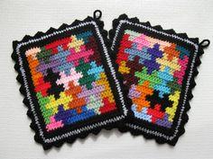 Puzzle Pot Holders.  Colorful jigsaw puzzle piece trivet.
