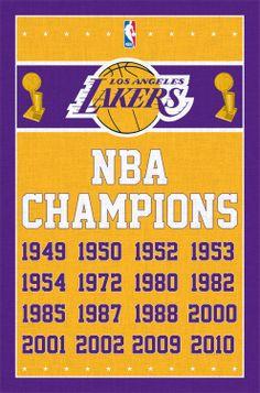 NBA Los Angeles LA Lakers World Champions Poster