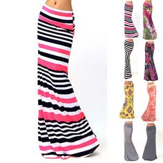 Women ASYMMETRIC High Waist Striped Fold Over Stretch Long Maxi Skirt Plus Size #Unbranded #Maxi