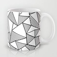 Abstraction Lines Black on White Mug #abstraction #lines #abstract #white #black #projectm