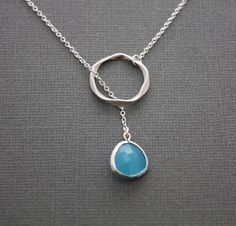 Sterling Silver ring lariat necklace with framed glass stone, gift,chic, casual, modern