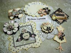 Vintage Black and Ivory Paper Embellishments and Paper Flowers for Scrapbooking…