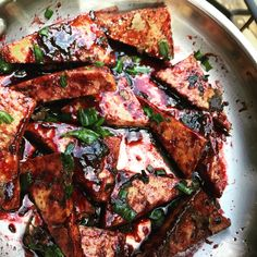 Tofu is marinaded in herbs and spices, then fried. A guava glaze is then added to give this dish a sweet and spicy kick!