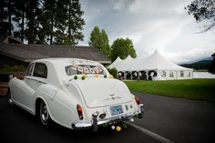 Adi & Spencer - Black Butte Ranch. Getaway car for photos after the ceremony, courtesy of the Bride's uncle. Photo by Powers Studios.