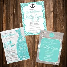 Beach Theme Bridal Shower Invitation - 3 designs to choose from by LoveAByeBabyDesigns on Etsy