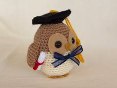 Graduation Owl Amigurumi Crochet Pattern by TheLoftyLoop on Etsy