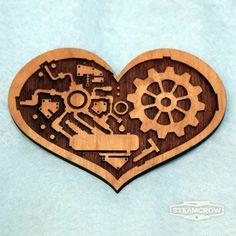 Clock Heart Brooch