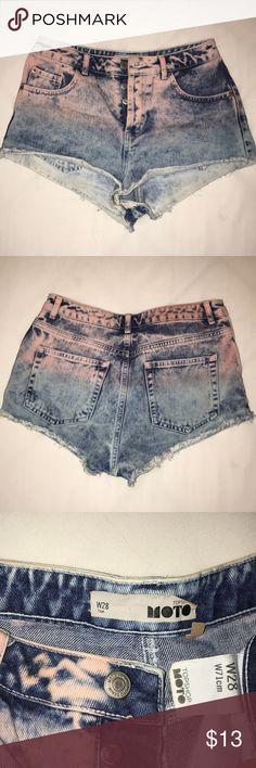 35ffa0d9c7 Topshop Moto ombré pink cutoff Jean shorts Topshop Moto Pink to blue ombré  acid washed hot