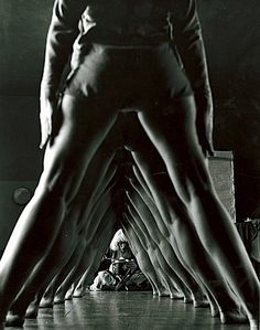 Tunnel of women's legs, Truempy Dance School, Berlin, Germany, 1932.