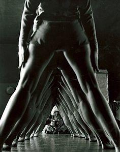 Tunnel of women's legs, Truempy Dance School, Berlin, Germany, 1932.