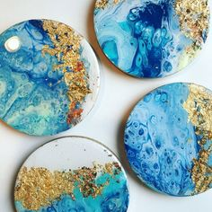 Dirty Pour Coasters with a gold foil and resin finish – resin crafts Epoxy Resin Art, Acrylic Resin, Acrylic Art, Creation Image, Rainbow Glass, Acrylic Pouring Art, Alcohol Ink Art, Resin Crafts, Resin Jewelry