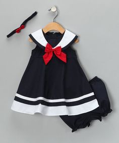 When your little lady pops on this stylish nautical dress set and makes an appearance at the next family get-together, she'll be the center of attention. With its sweet silhouette and precious ruffles, expect plenty of camera flashes to follow. Sync it up with matching leggings for an extra dash of wonderful that'll easily make it the go-to choice for the next family portrait.
