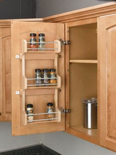 Save drawer space by placing a rack on the inside of any cabinet rev a shelf 4sr 15 door mount spice rack wood maple workwithnaturefo