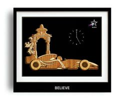 Wooden Wall Clock - On occasion of Diwali, a perfect gifting option where the image shows adaptation of Ramji return from Vanvaas after 14 years in his sports vehicle.