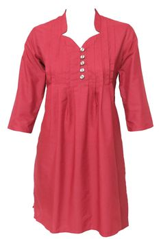 Buy this @ Etsy.com Indian Ethnic Red Cotton Top / Kurti / Kurta / Kurthi / Kurtha / Dress - Ladies Dress - Pleated - Wood buttons - All Sizes