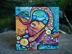 You know you have always wanted your very own octopus in a box! Octopus in a Box © Colleen Wilcox Art 2011 These are the new. Octopus Painting, Octopus Art, Fish Art, Vexx Art, Hawaiian Art, Surfboard Art, Tropical Art, Mini Paintings, Art For Art Sake