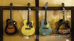 Festive Acoustic Guitars All In A Row