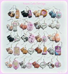 kawaii earrings | Kawaii cats earrings by ~Bojo-Bijoux on deviantART