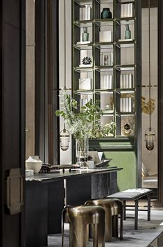 Interior Chino, Green Shelves, Chinese Interior, Interior Styling, Interior Design, Sales Center, Lobby Design, Retail Interior, Hotel Interiors