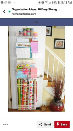 Coat Closet and Wrapping Paper Organization wrapping paper storage Organisation Hacks, Storage Organization, Storage Area, Easy Storage, Organizing Ideas, Craft Storage, Gift Bag Storage, Closet Storage, Storage Sheds