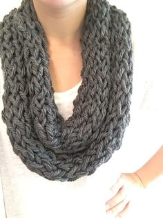 Finger Knit Infinity Scarf by HappySeaCrafts on Etsy