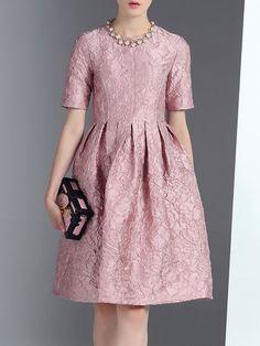 Shop Midi Dresses - Pink Short Sleeve Jacquard Midi Dress online. Discover unique designers fashion at StyleWe.com.