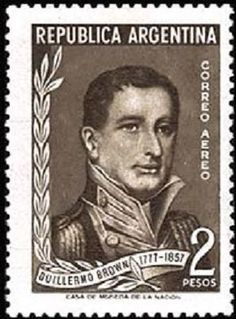 Stamp: Admiral Brown in military uniform (Argentina) (100th Anniversary of the Death of Admiral G. Brown) Mi:AR 655,Sn:AR C65,Yt:AR PA45,Sg:AR 904
