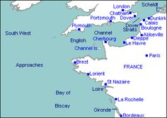 map of english channel showing Dunkirk (French side) and the white cliffs of Dover (English side)