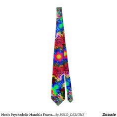 Men's Psychedelic Mandala Fractal Satin Power Tie