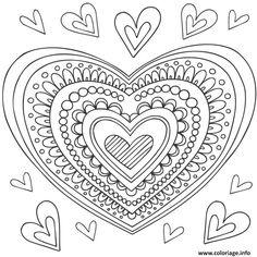 Coloriage mandala coeur Dessin à Imprimer