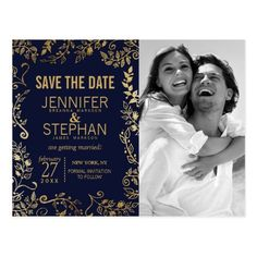 Monogram Save the Date Wedding Cards Elegant Navy Blue and Gold Floral Save the Dates Postcard
