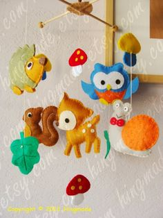 Baby Crib Mobile - Baby Mobile - Nursery Mobile - Hanging Felt Mobile - Forest Deer, Playful Porcupine and owl friends(Large Size) by DaisyCombridge