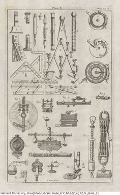Bion, N. (Nicolas), The construction and principal uses of mathematical instruments, Houghton Library, Harvard University Technical Illustration, Technical Drawing, Side View Drawing, Illustrations Techniques, Books Art, Nicolas Tesla, Engineering Tools, Instruments, Messy Room