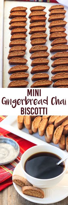 These mini gingerbread chai biscotti cookies are perfect for the holiday season! Warmly-spiced chai tea latte mix is a wonderful, festive complement to the gingerbread flavor. These crunchy cookies are just right for dipping into coffee or hot chocolate, or for snacking on by themselves!