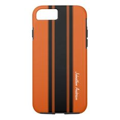 Modern Burnt Orange Racing Stripes With Name iPhone 7 Case - tap, personalize, buy right now! Iphone 7 Cases, Iphone 8, Apple Iphone, Modern Mens Fashion, Racing Stripes, Burnt Orange, Names, Sporty, Stuff To Buy