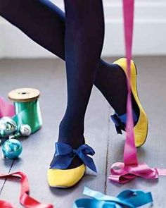 Tie a ribbon around your feet and then slip on some flats to one-up a simple look.