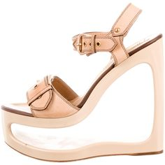 Giuseppe Zanotti Buckle Embellished Cutout Platform Sandals ($175) ❤ liked on Polyvore featuring shoes, sandals, neutrals, buckle sandals, leather shoes, nude shoes, ankle strap platform sandals and leather sandals