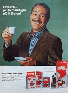"Nino Manfredi e il tormentone del caffè Lavazza, che ""più lo mandi giù, e più ti tira su!"" :) Vintage Italian Posters, Vintage Advertising Posters, Old Advertisements, Poster Vintage, Advertising Campaign, Vintage Ads, Nostalgia, Illustration Story, Illustrations"