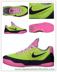 Volt/Meia-noite marinha-rosa Fluorescente-lobo cinzento 653593-701 Nike Kobe 9 EM GS
