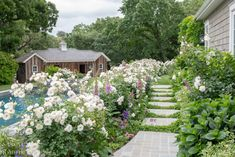 Tour Our Country Garden In Full Bloom - Garden Pathways filled with white roses and foxglove alongside a stone cottage and our country barn welcome you. Back Patio, Small Patio, Garden Cottage, Home And Garden, Planter Beds, Porch Steps, Stone Cottages, Country Barns, Country Decor