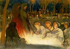 All Souls' Day, 1910 by Aladar Korosfoi-Kriesch. Expressionism. genre painting