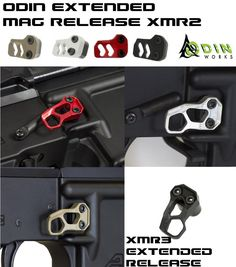 ODIN Works EXtended Magazine Release allows you to instinctively change your magazine without disrupting your focus. Tactical Supply, Tactical Rifles, Firearms, Airsoft Guns, Weapons Guns, Guns And Ammo, Ar Pistol Build, Ar Build, Rifle Accessories
