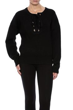 Lace-up closure at banded neckline. Dropped shoulder seams and long sleeves.  Lace Up Sweater by Babel Fair. Clothing - Sweaters - Crew & Scoop Neck Nolita Manhattan New York City
