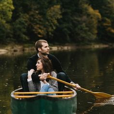 Preppy New England styling and a forest green canoe have us loving this cozy engagement session captured by Marisa Albrecht