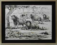 López Canito : Bulls in the field. Medium: Acrylic on paper Measurements (cm): 73x58 Canvas measurements (cm): 61x46 Interior frame: Yes. Lopez Canito is an artist born in Madrid, and a prestigious illustrator. He has worked for several magazines and is one of the masters of the bullfighting painting in Spain.  $340.91