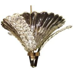 Very Rare Liberty Chandelier by Barovier & Toso, Venice, 1940s