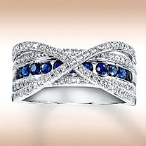 10K White Gold Diamond & Natural Sapphire Ring...i'm so getting this on our 1yr anniversary