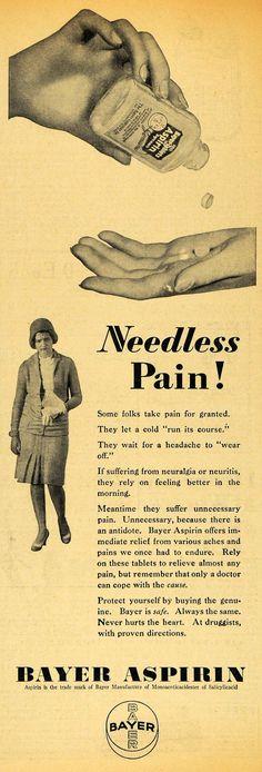 1929 Ad. Bayer Aspirin. Pain Relief - Period Paper.